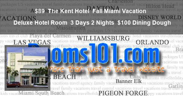 $89 | The Kent Hotel | Fall Miami Vacation | Deluxe Hotel Room | 3 Days 2 Nights | $100 Dining Dough