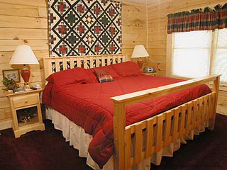 country bedroom in cabin 204 browns general store in pigeon forge