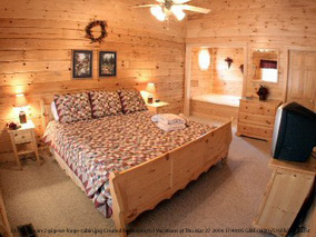 bedroom in cabin 222 robins nest in pigeon forge tennessee