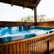 Hot Tub on Deck in Cabin 24 (East View) at Eagles Ridge Resort at Pigeon Forge, Tennessee.