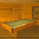 Game room with pool table in cabin 241 (Eagle Crest Lodge) at Eagles Ridge Resort at Pigeon Forge, Tennessee.