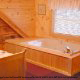 Private jacuzzi in cabin 304 (Southern Hospitality) at Eagles Ridge Resort at Pigeon Forge, Tennessee.
