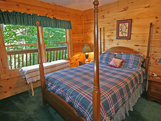 poster bed in cabin 80 heavenly haven in pigeon forge tennessee
