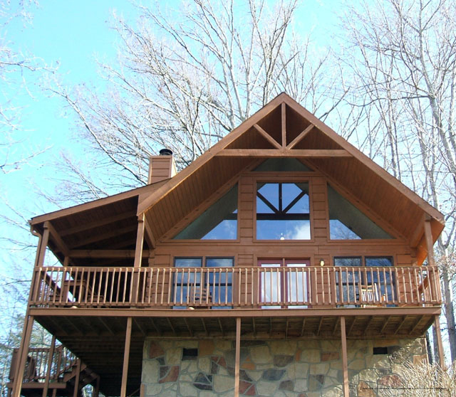 balcony at the country pines log home resort in pigeon forge tennessee