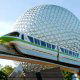 The Epcot icon planet and the monorail shuttle at Walt Disney's Epcot in Orlando Florida.