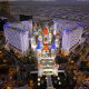 Majestic Bird Eye View of Excalibur Hotel and Casino in Las Vegas, Nevada. Affordable Vegas vacation packages now available at Rooms101.com.