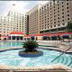 Outdoor Jacuzzi View at the Harrah's Grand Casino Hotel in Biloxi, Mississippi. You have a chance to appreciate the contemporary architecture style of the hotel during your Spring Break Family Travel.