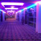Night Lobby View at the Harrah's Grand Casino Hotel in Biloxi, Mississippi. The purple lighted lobby is a little mysterious and perfect for your Halloween Night with us!