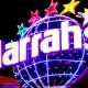 New Logo Sign at the Harrah's Grand Casino Hotel in Biloxi, Mississippi. You must like purple if you already chose us for your Halloween Vacation Destination.