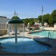 Two outdoor pools are shown here of the James Manor Hotels in Pigeon Forge Tennessee