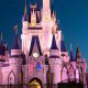 The night lights on the castle in Disneys Magic Kingdom Vacation in Orlando Florida.
