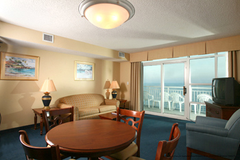 of a one bedroom suite at the best western carolinian in myrtle beach