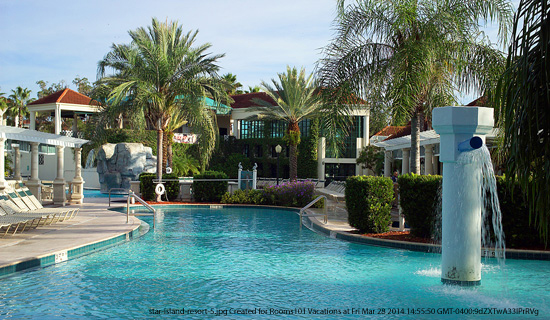 swimming pool view at the star island resort in orlando florida