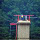 On top of the tower and ready to go at zipline adventures in Pigeon Forge Tennessee.