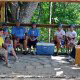 The team is taking a break together at zipline adventures in Pigeon Forge Tennessee.