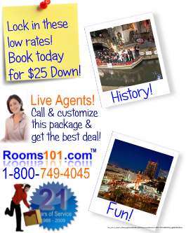 Rooms101.com has the best rates for Getaway Vacations for the Family for San Antonio Mini Vacation Specials!