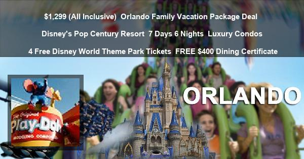 $1,299 (All Inclusive) | Orlando Family Vacation Package Deal | Disney's Pop Century Resort | 7 Days 6 Nights | Luxury Condos | 4 Free Disney World Theme Park Tickets | FREE $400 Dining Certificate
