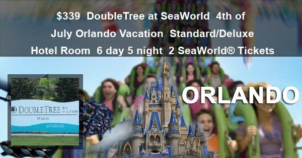 $339 | DoubleTree at SeaWorld | 4th of July Orlando Vacation | Standard/Deluxe Hotel Room | 6 day 5 night | 2 SeaWorld® Tickets