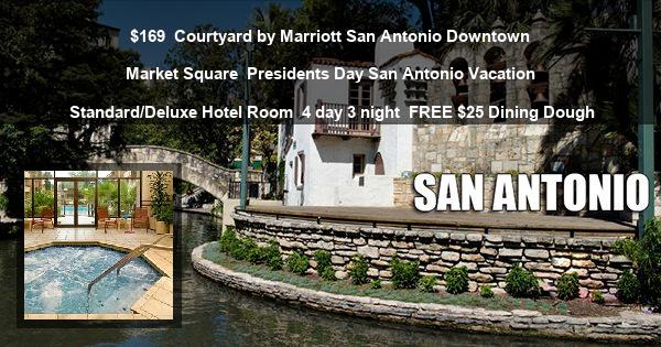 $169 | Courtyard by Marriott San Antonio Downtown Market Square | Presidents Day San Antonio Vacation | Standard/Deluxe Hotel Room | 4 day 3 night | FREE $25 Dining Dough