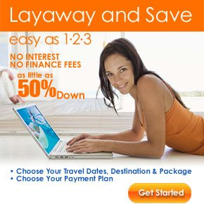 Layaway your vacation package for as little as $25 down. Rooms101.com finances vacation packages on payment plans you can afford with no finance charges, interest or service fees! click here or call now to get started! 1-800-749-4045